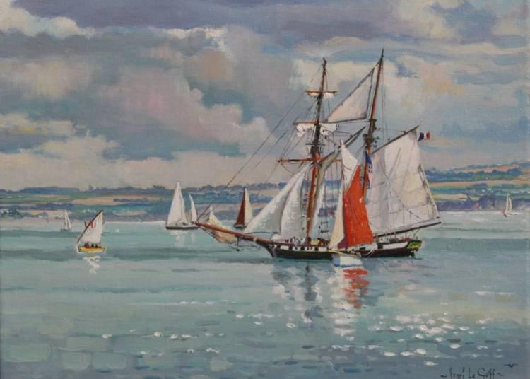 Henri Le Goff expose ses marines et peintures des c�tes de Bretagne � Sainte-Marine � Combrit