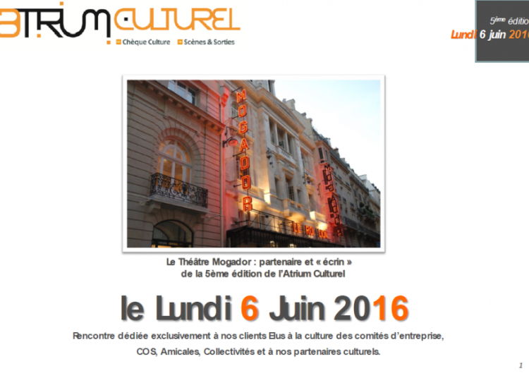 Atrium Culturel : 5 �me �dition � Paris 9�me