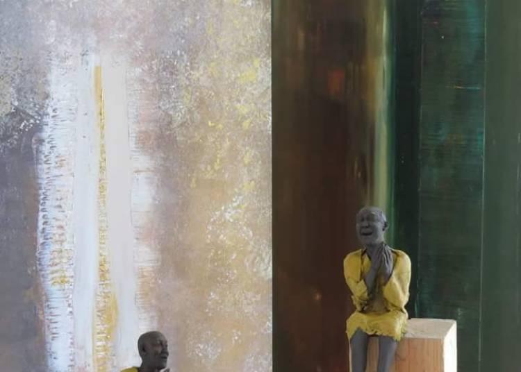 Retours de voyages, dialogue entre sculptures et peintures, Corinne Chauvet-Bernard Coignard � Lescure d'Albigeois