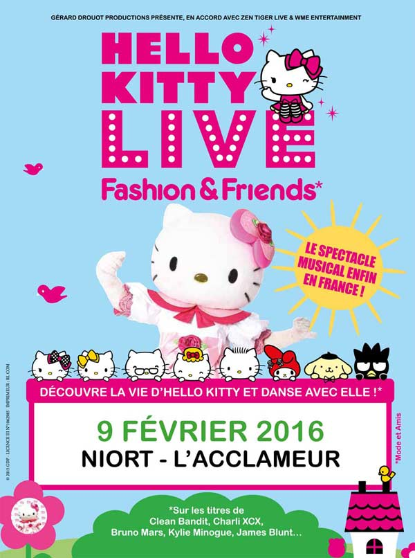 spectacle hello kitty live niort mardi 9 f vrier 2016. Black Bedroom Furniture Sets. Home Design Ideas
