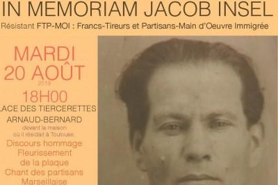 Commémoration Jacob Insel Résistant Ftp Moi 35eme Brigade à Toulouse