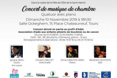 Concert de musique de chambre au profit de l'ADEL, association d'aide aux enfants atteints de leucémie et de cancer à Tours
