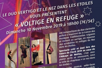 COMPLET !!  Spectacle Voltige en refuge - Le nez dans les étoiles et le Duo Vertygo à Bourges